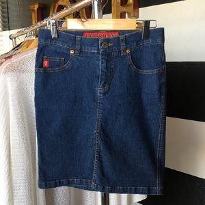Guess Jeans Stretch dark denim pencil mini skirt